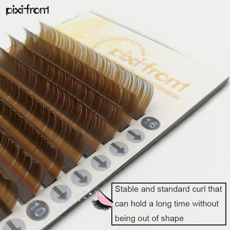 1case All Size Brown Eyelashes Easy Faning Flower , Silk Soft Brown False Mink Eye Lashes Extension