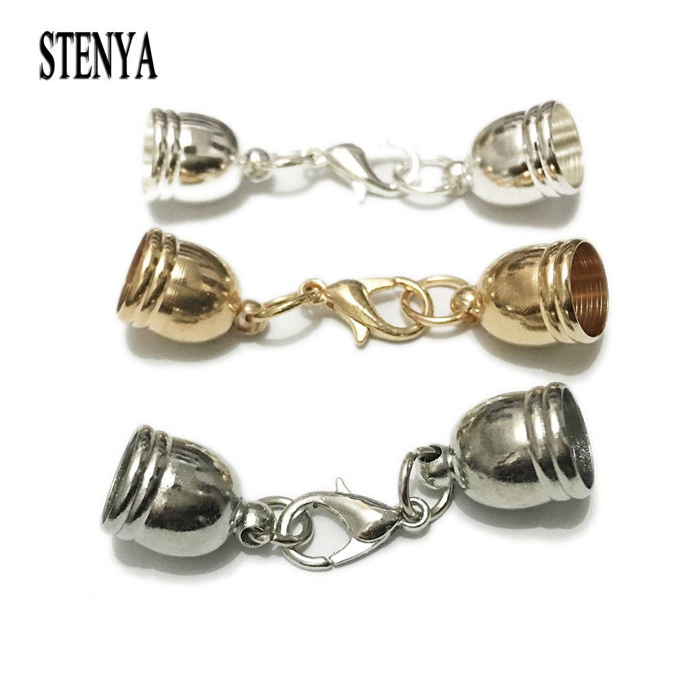 Stenya Hole Size 512mm Necklace Tassel Round Leather Cord Crimps End Caps  Lobster Clasp
