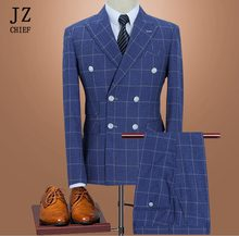 JZ CHIEF 3 Piece Suit Men Double Breasted Skinny Wedding Suits For Groom Casual Plaid Tuxdeo Suit Big Size Blazer Vest Pants 5XL(China)