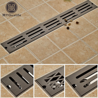 Oil Rubbed Bronze 70CM Shower Room Large Flow Floor Drain Ground Waste Water Discharge Shower Drain