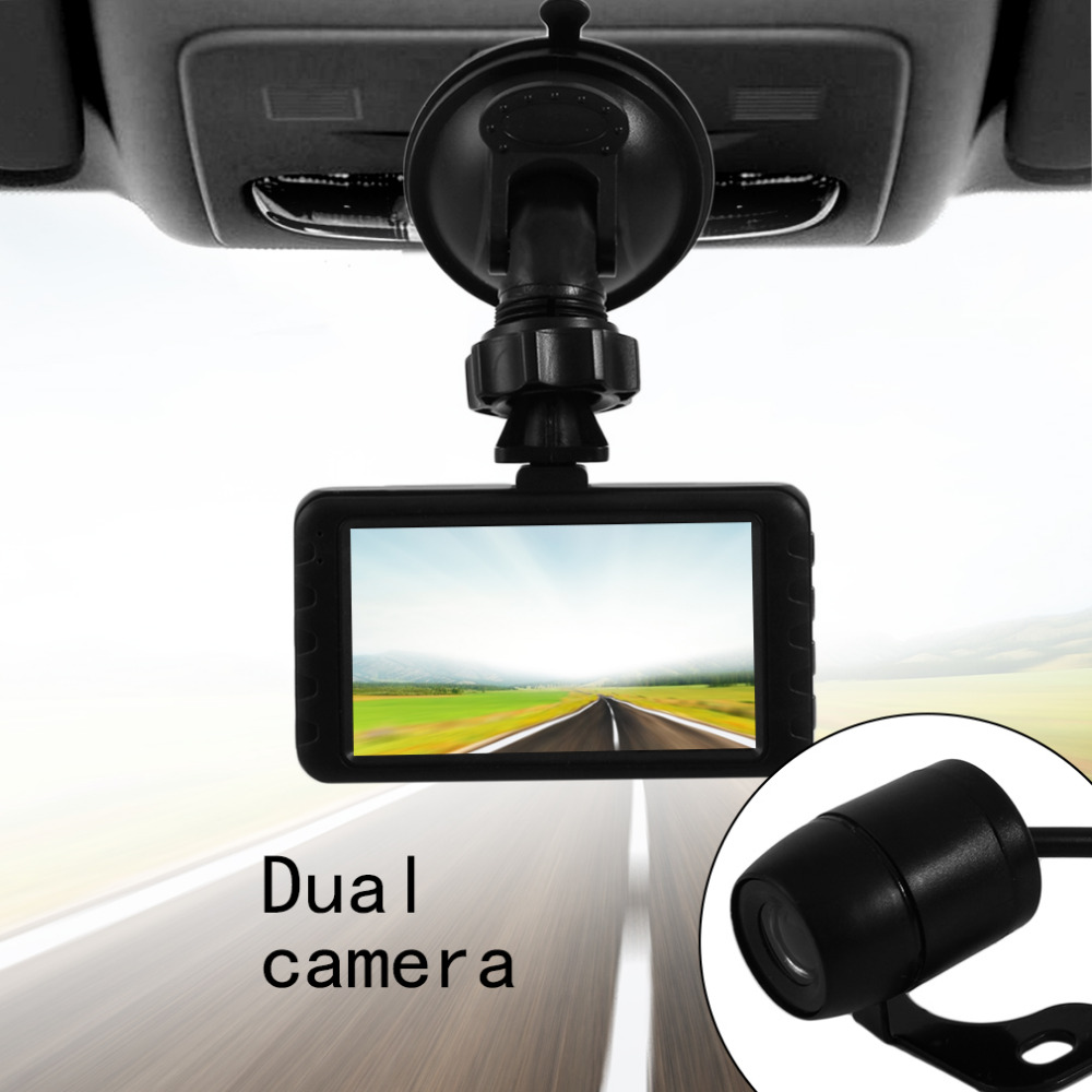 NEW Car DVR 120 Degree Wide View Angle Automatically Dual Lens Dash Cam RecorderFull HD Camera Recording 1080P  For All Car