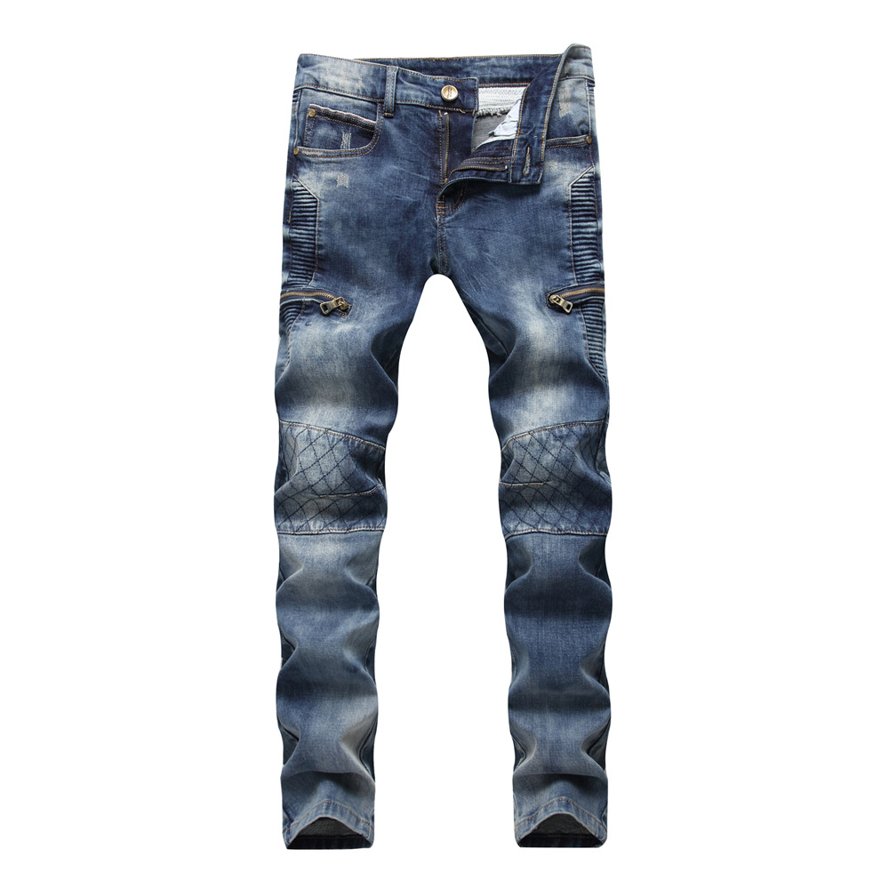 2018 Dropshipping Mens Pleated Biker Jeans Brand Designer Moto Warm Jeans Trousers For Male Straight Washed Multi Zipper Pants