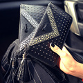 Pu Women Fashion Tassel Long Wallet Casual  Rivet Zipper Purse Luxury Letter Clutches Simple Billfold Female Money Clip