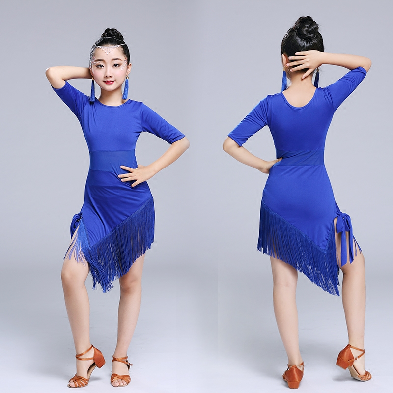 Tassel Latin Dance Dress For Girls Children Salsa Tango Ballroom Dancing Dress Competition Costumes Kids Practice Dance Clothing