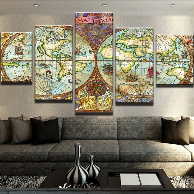 Canvas wall art modular picture landscape 5 panel world map canvas canvas wall art modular picture landscape 5 panel world map canvas painting modern living room decorative gumiabroncs Gallery