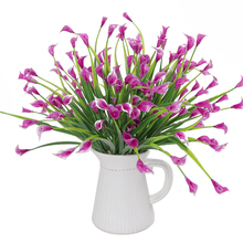 5 Heads Artificial Calla Flower Bouquet Plastic Simulation with Leaf Home Room Christmas Decoration