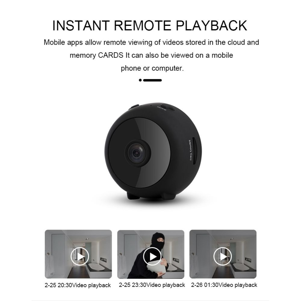 Small Camcorder Round 1080P High Definition WiFi Motion Detection Cloud Storage Video Recorder Camera(China)