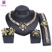 African Jewelry Set Gold Color Purple/Green Zircon Austrian Crystal Women Wedding Necklace Bracelet Earring Ring Jewelry Set