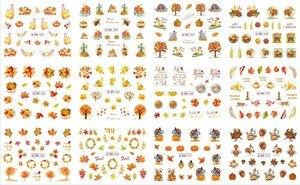 UPRETTEGO 12 упаковок/набор, дизайн ногтей, красота, вода, наклейка, слайдер, наклейка для ногтей, красный лист, кленовое дерево, медведь, вены, осен...