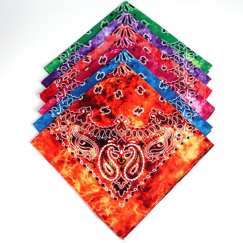 55x55cm Unisex Cycling Outdoor Square Bandanas Tie-Dye Gradient Colorful Hip-Hop Neckerchief Retro Paisley Floral Print Headwrap