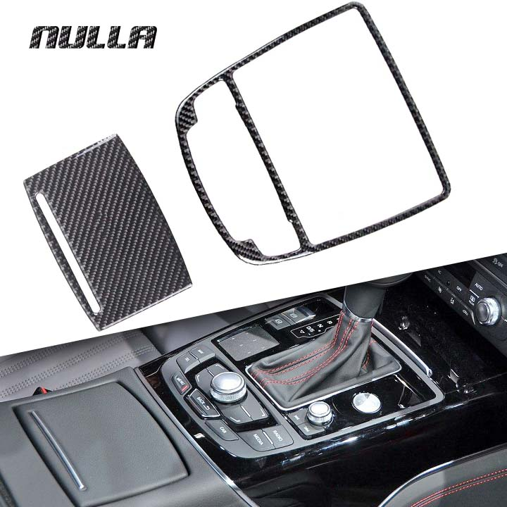 NULLA Carbon Fiber Car Interior Gear Shift Panel Decoration Water Cup Holder Box Accessories Sticker for AUDI A6 A7 C7 2014 2015 12pc canbus car led light bulbs interior package kit for 2012 2014 audi a6 c7 dome glove box trunk license plate lamp white
