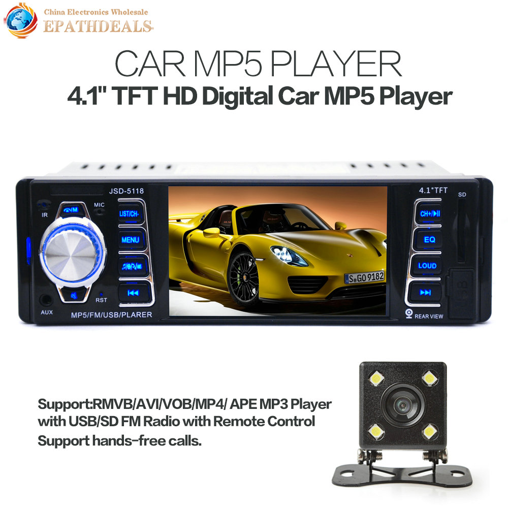 5118 4.1 Inch 1 Din HD Car Stereo Radio Bluetooth MP3 MP5 Player Support USB SD FM TF AUX + Auto Rearview Backup Reverse Camera 12v 4 1 inch hd bluetooth car fm radio stereo mp3 mp5 lcd player steering wheel remote support usb tf card reader hands free