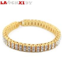 LANCHXIDY Hip Hop Tennis Chain Bracelet Men 2 rows Iced Zircon Copper Bracelets Fashion Luxury Women Wrist Link Jewelry Gift