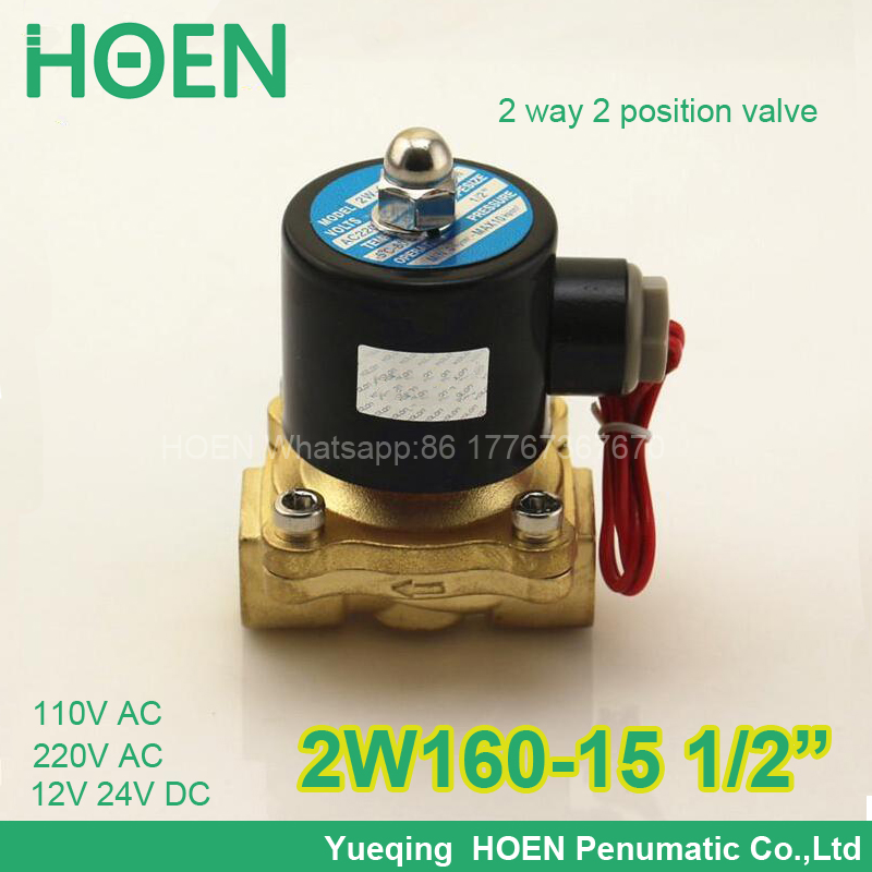 10Pcs/lot  2W160-15 Normally closed 2/2 way G1/2 pneumatic solenoid water air gas oil brass valve NBR DC AC 12V 24V 110V 220V 2way2position 3 8 electric solenoid valve n c gas water air 2w160 10