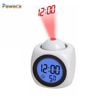 2017 New LED Projection Voice Talking Alarm Clock Backlight Electronic Digital Projector Watch Desk Temperature Voice Display