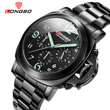 2016 New Arrival LONGBO Luxury Brand Military Stainless Steel Leather Multifunction Date Calendar Waterproof Wristwatches 80180