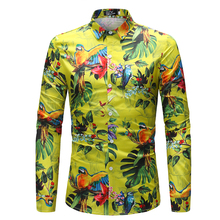 Foreign Trade New Pattern Man Long Sleeve Shirt Parrot Pattern Spring And Autumn 2018 New Pattern CS41-P45 цена