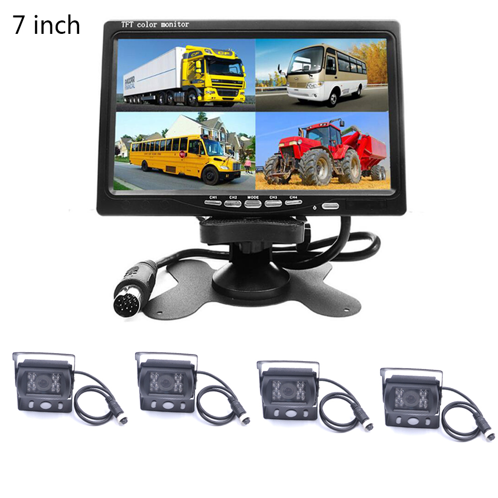7 inch HD Quad Split Monitor for Truck 4CH Video Input Parking Dashboard With Night Vision Backup Camera Remote Control