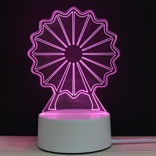 Ferris Wheel Childrens Playground LED 3D NightLight Acrylic Night Lamp Light With Touch And Remote Lamps Lights Kids Decoration