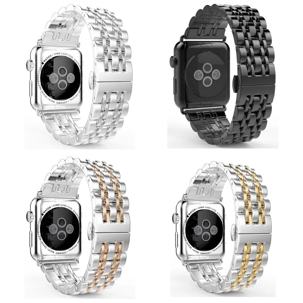 316L Ανοξείδωτο 7Beads Watch Band για Apple Σειρά Watch 4 3 2 1 Στεφάνι ρολογιών για iWatch 44mm 40mm 42MM 38MM με εργαλείο