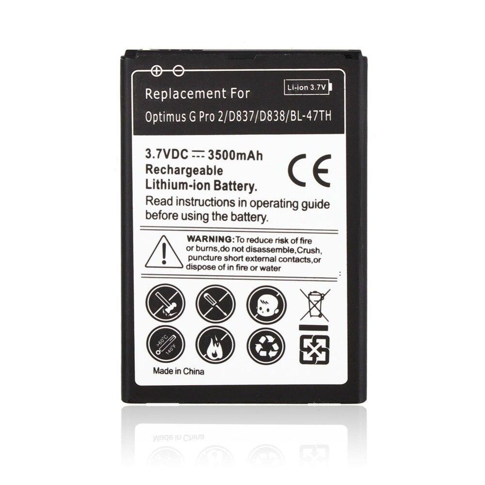 3500 Mah Remplacement Batterie Commerciale Pour LG Optimus G Pro 2 D837 D838 BL-47E Batteria