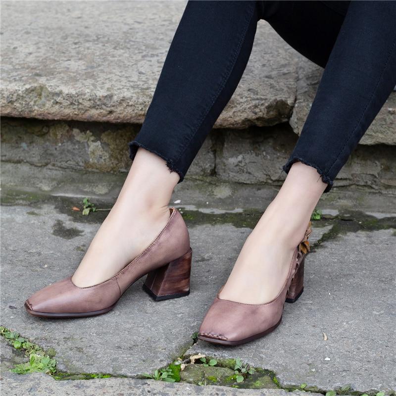 Flor Cm Genuino Alto Bombas De Mano Marca Las Hecho Primavera Bombas 6 A Señora 2019 Zapatos Gris Tacón Mujeres Cuero qYXwUPY