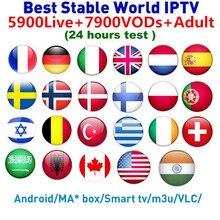 лучшая цена Europe IPTV subscription 5900 channels Belgium Sweden France Arabic Canada UK Netherland USA VODS IPTV M3U Smart tv Set Top Box