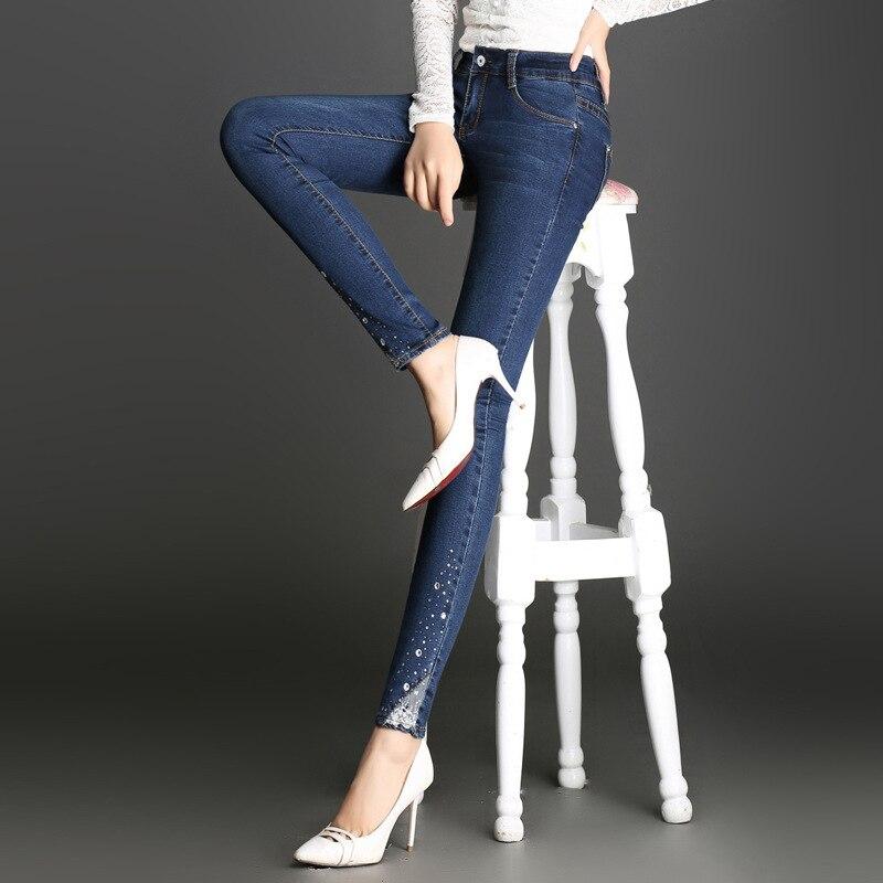 ФОТО Female Diamond Lace Stitching Elasticity Pencil pencil jeans