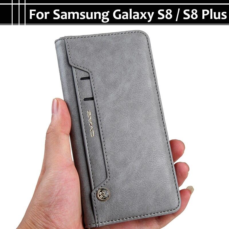 EiiMoo Cassa Del Telefono Per Samsung Galaxy S8 S 8 Plus S8Plus Stand carta Raccoglitore DELL'UNITÀ di elaborazione di Vibrazione Caso Della Copertura del Cuoio Per Sansung Galaxy S8 Più