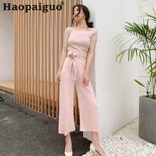 2019 Summer Casual Elegant Two Pieces Set for Women Slash Neck Knitted Blouse and Empire Wide Leg Pants Black 2