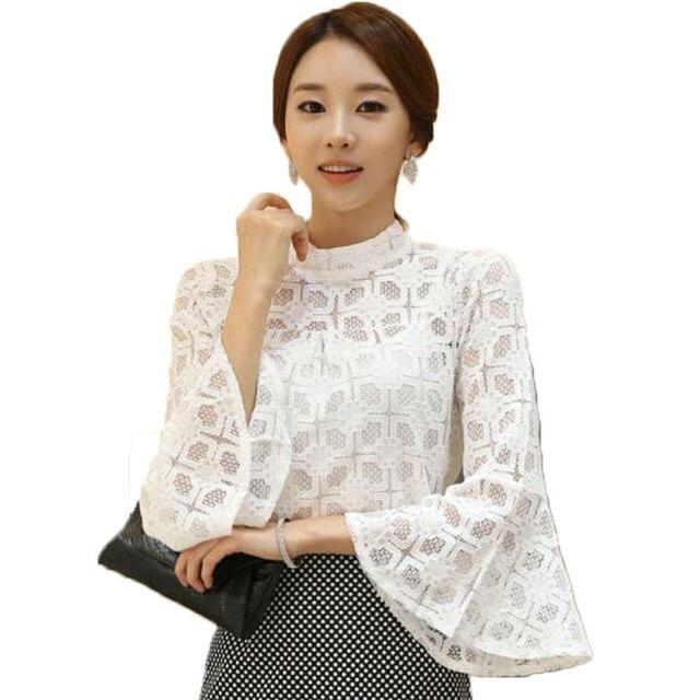 Mujer de encaje blusas camisa corta campana manga camisa de encaje ...