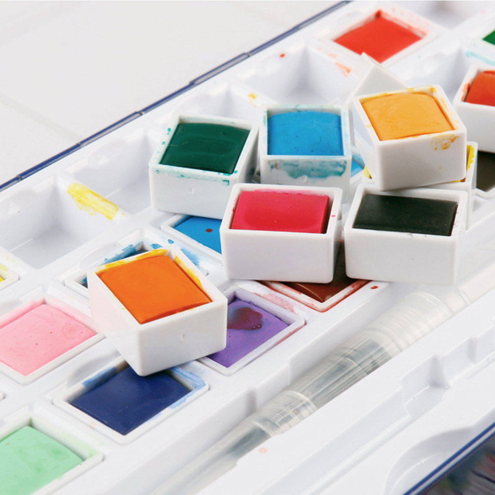 Image 3 - 48 Colors Solid Watercolor Paint Set Metal Box Water Color Painting Pigment Pocket Size With Metal Ring For Artists Art Supplies-in Water Color from Office & School Supplies