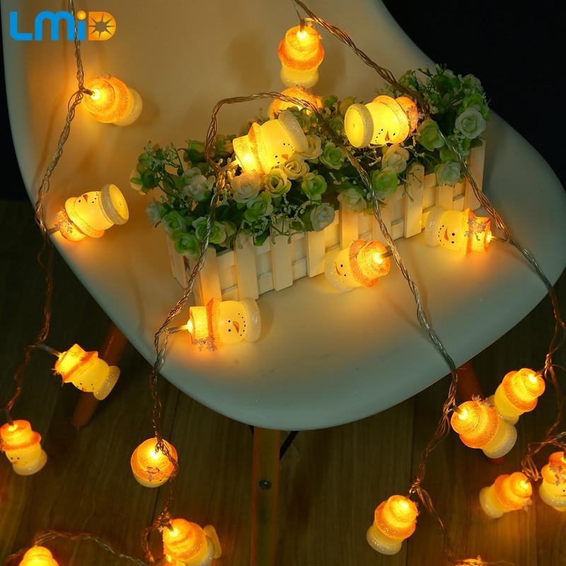 LMID 5M Christmas Lights AC 220V EU Fairy Snowman LED String Lighting For Holiday Christmas Indoor Garland Party Decoration Lamp стоимость