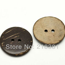 50 шт коричневая Кокосовая Скорлупа 2 отверстия, пуговицы для пришивания скрапбукинга 30 мм