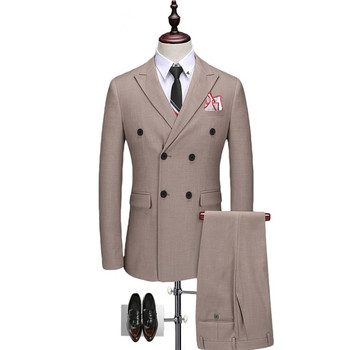 Fashion classic men's suit pink lapel double-breasted men's business suits and groomsmen dress (jacket + pants) custom made