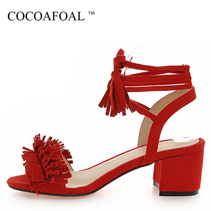 COCOAFOAL Woamn High Heels Sandals Plus Size 33 - 43 Red Wedding Sandals Black Pink Gray Fringe Fashion Sexy Gladiator Pumps коньки onlitop 30 33 red black 1231414