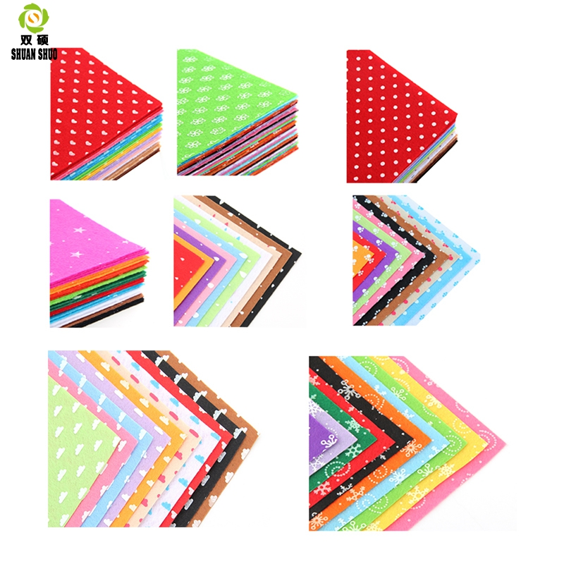 ShuanshuoDIY Polyester Fabric Felt Craft Pattern Sewing Dolls Crafts Home Decoration Non-Woven Home Fabric 1mm Thickness 15x15cm