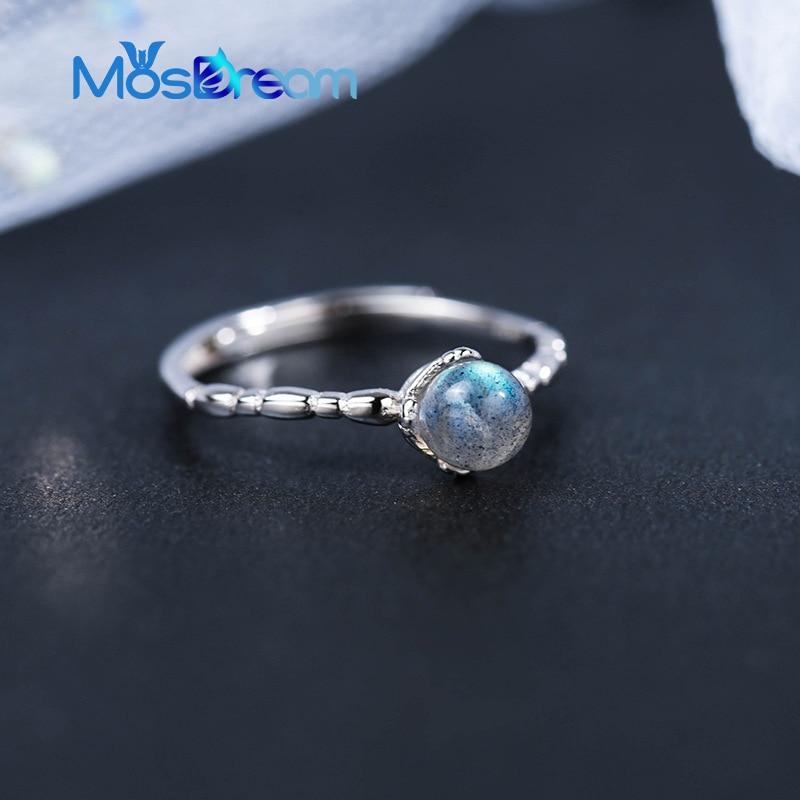 MosDream Moonstone Blue Moon Light Elegant Rings S925 Silver Female Gemstone Finger Ring Bands For Women Delicacy