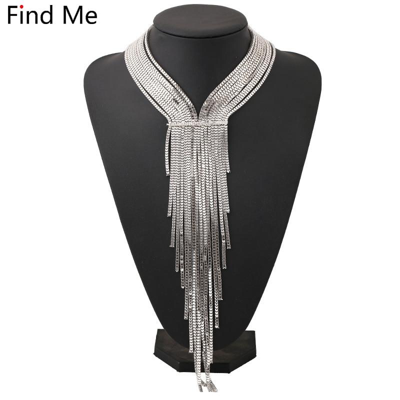 Find Me 2018 new fashion brand long chain tassels collar cho