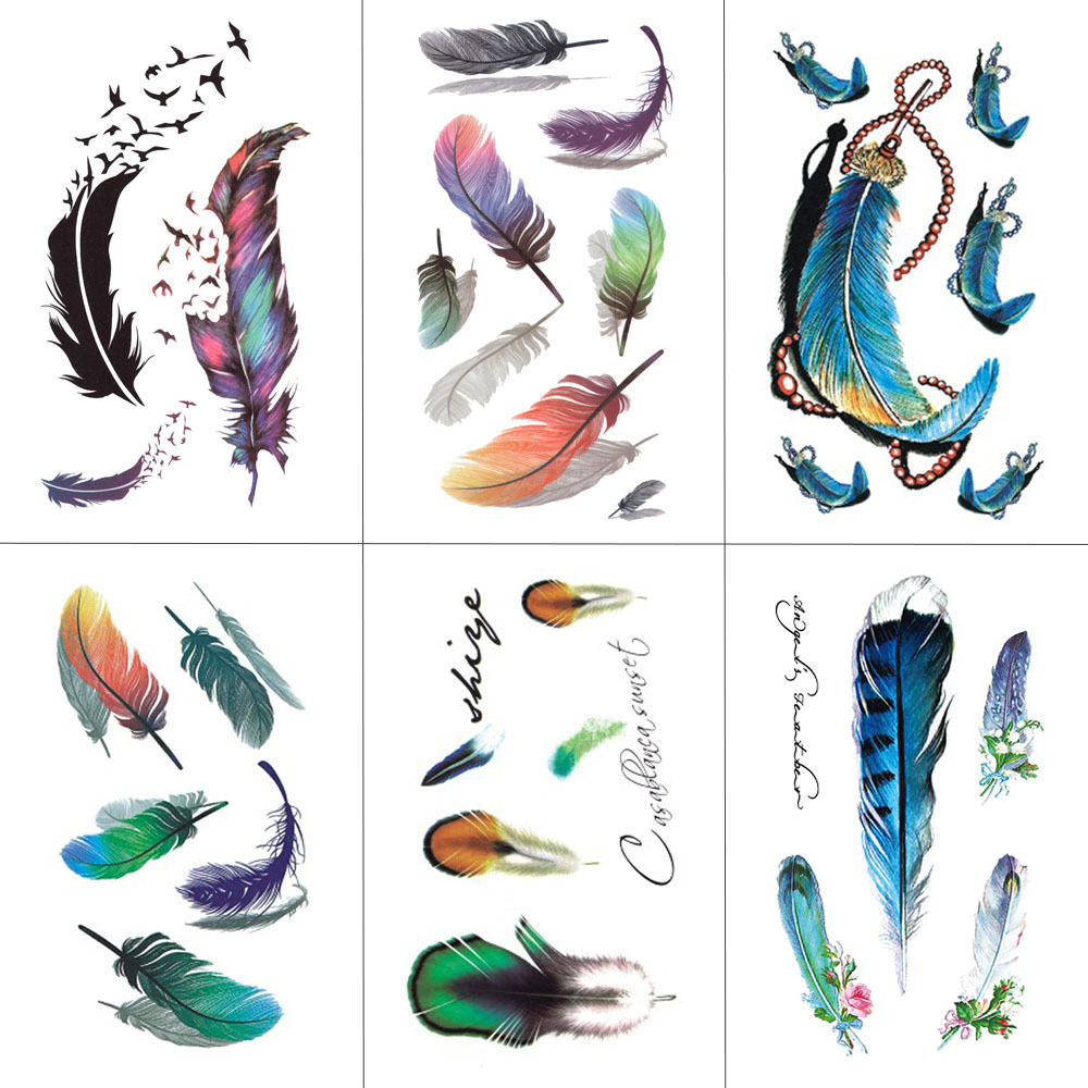 HXMAN Feather Temporary Tattoos Waterproof Women Tattoo Sticker Fashion Fake Body Art Men 10.5X6cm Kids Adult Hand Tatoo B-012