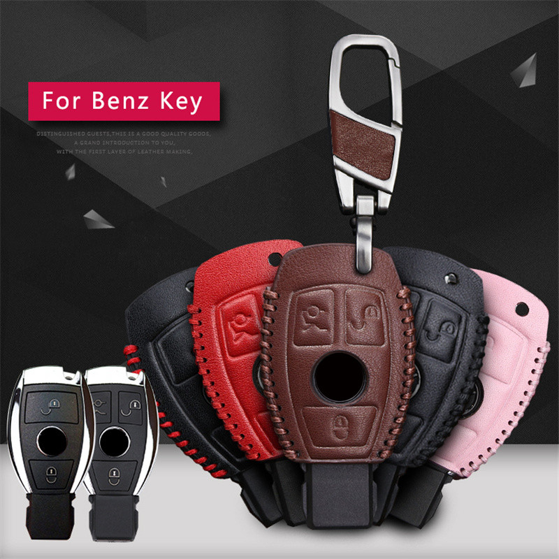 Leather Car Key Cover Case For Mercedes Benz C E S W203 W210 W211 W124 CLK E200 AMG 2&3 Button Key Protective Shell Accessories
