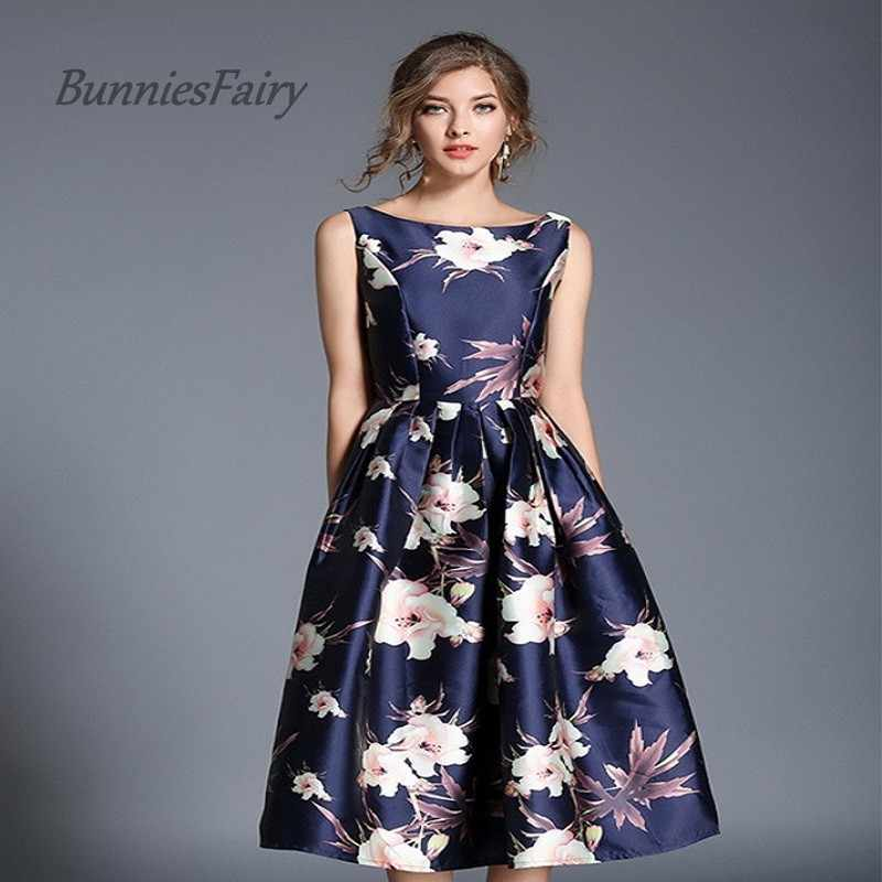 BunniesFairy 2019 Spring High End Fashion Women Clothing Retro Flower Floral Print Navy Blue Vest Dress Wedding Party Cocktail