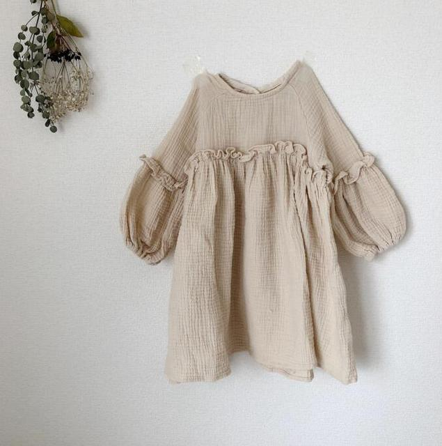 7ecdb6ace6b1 2018 Ins Japan Kids Girl Dress Linen Summer Clothes Ruffles Princess Toddler  Baby Girl Clothings