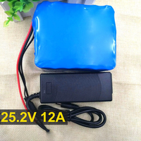 25.2V 12Ah 12000mah 6S6P Electric vehicles 18650 Li lon Battery Pack Portable Backup Power PCB + 24 v (25.2 v) 2A Charger
