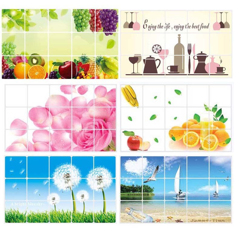 Wall Stickers Home Decor Kitchen Aluminum Foil Waterproof Decorative Stickers Home Decor Wall Sticker Food Bread Fruit Juices
