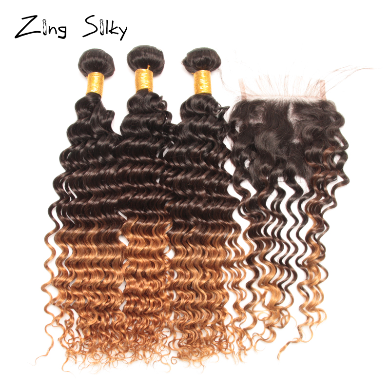 Deep Wave Ombre Bundles with Closure Colored 3/4 Brazilian Human Hair Bundles with Closure Remy Tissage Bresiliens Avec Closure Pakistan