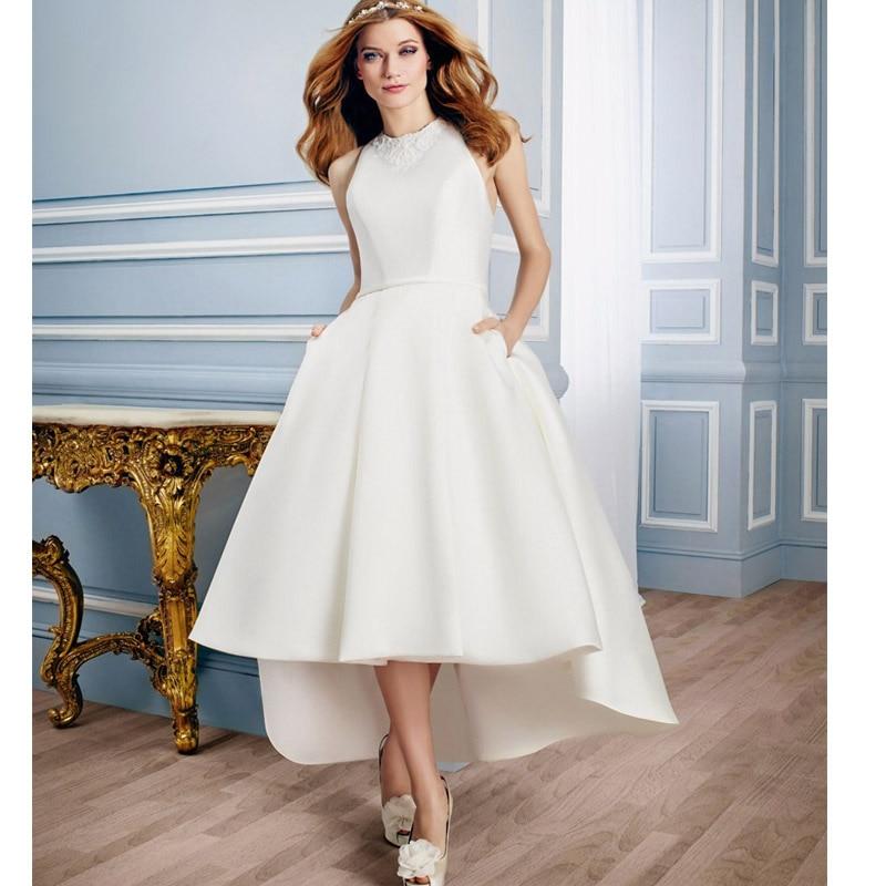 high neck wedding dress a line 2016 high neck high low wedding dresses white ivory stain