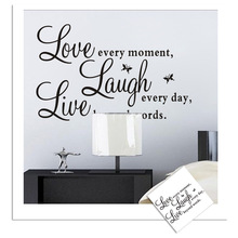 Removable Fashion Love and Laugh  Vinyl Wall Stickers Diy Engish Quotes Letters Wallpaper Home Decor Glass Decal Art