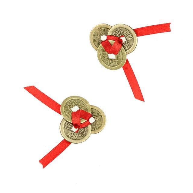 2 bộ Của 3 Brass 24 mét Trung Quốc Cổ Đại Phong Thủy Đồng Xu May Mắn May Mắn Cổ Sự Giàu Có Tiền Bộ Sưu Tập Quà Tặng