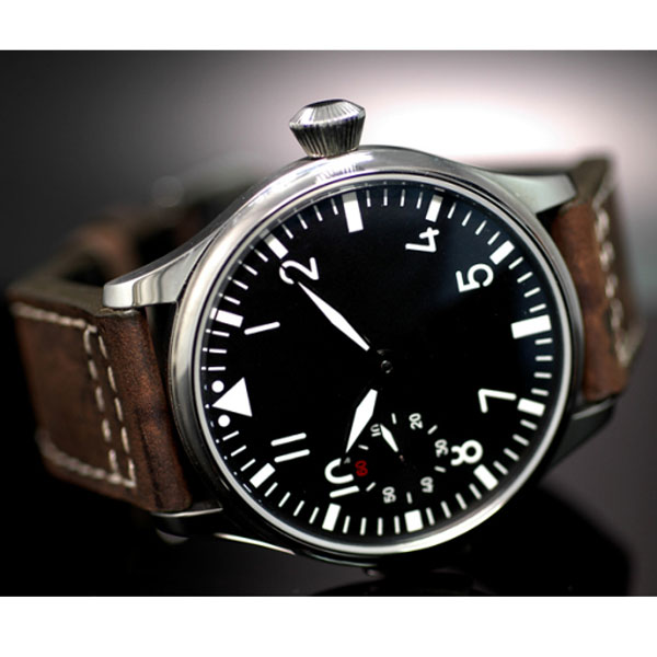 Free Shipping 44mm classic black dial PARNIS luminous makrs asia 6497 movement Mechanical Watches hand winding